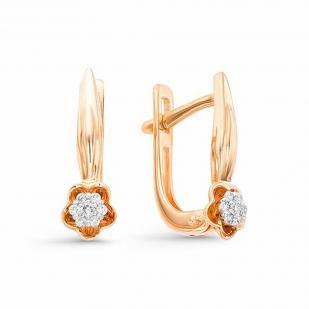 Красивые цветочные серьги с бриллиантами 22313-100 фото