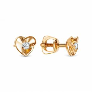 Гвоздики сердечки с бриллиантами из розового золота 22533-100 фото