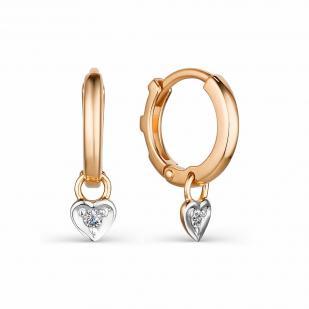 Серьги колечки с подвесками и бриллиантами 23972-100 фото