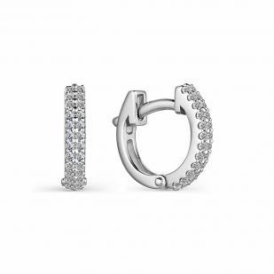 Серьги колечки белое золото с бриллиантами 23988-200 фото