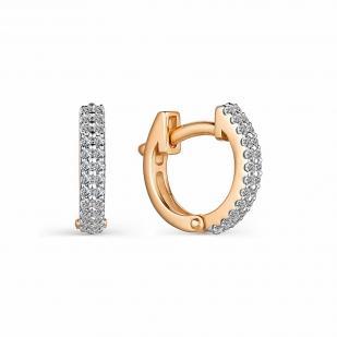 Небольшие серьги колечки с бриллиантами 23988-100 фото