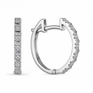 Серьги кольца с бриллиантами из белого золота 23989-200 фото