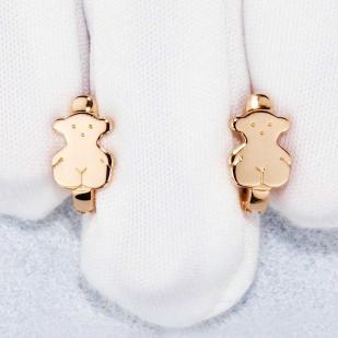 Детские сережки Мишки золотые фото