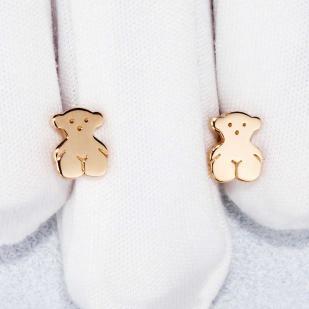 Золотые пусеты Мишки  фото