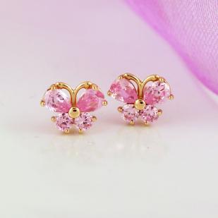 Детские золотые гвоздики Бабочки розовые фото