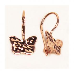 Золотые серьги Бабочки на петельках фото