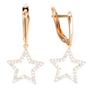 Золотые серьги Звезды с фианитами фото