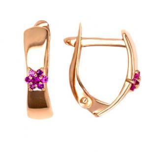 Золотые серьги с цветком малиновым фото