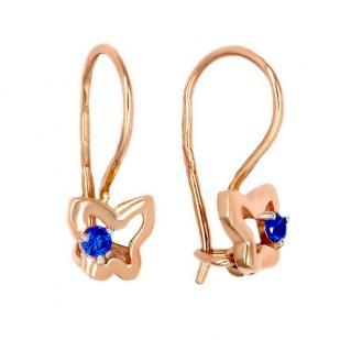 Золотые сережки девочке с бабочкой и синим камнем фото