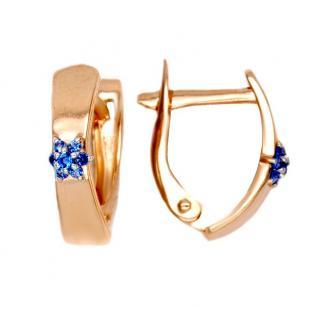 Золотые серьги с синим цветком фото