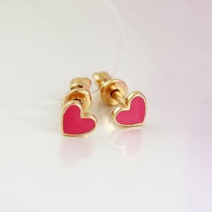 Детские золотые гвоздики Сердечки розовые фото