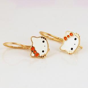 Сережки Кошечки Китти золотые фото