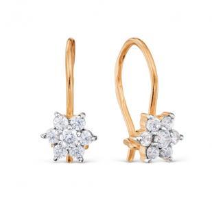 Золотые сережки для девочки с цветочком фото