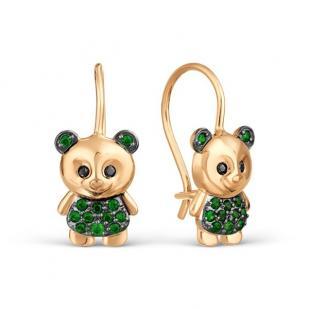 Золотые сережки для девочки с мишкой фото