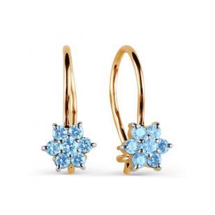 Золотые сережки для девочки с голубым цветочком фото