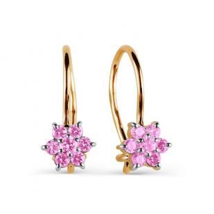 Золотые сережки для девочки с розовым цветочком фото