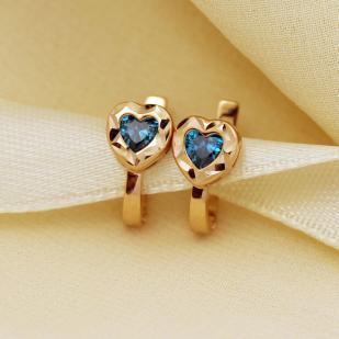 Золотые серьги для девочки Сердцечки фото
