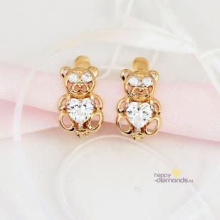 Золотые серьги Мишутки фото