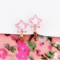 Серьги цветы с розовыми фианитами