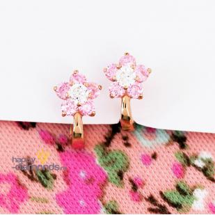 Серьги цветы с розовыми фианитами фото