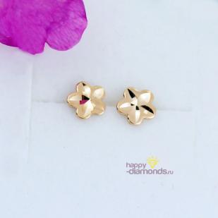 Серьги-гвоздики из золота в форме цветка