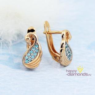 Золотые серьги Лебедь фото