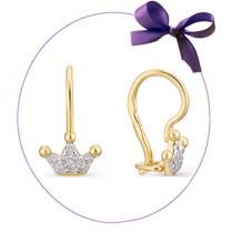 Детские золотые сережки с короной