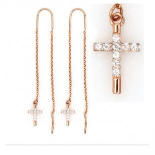 Золотые серьги с крестиком