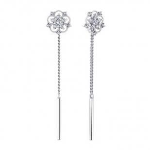 Серебряные серьги Ажурный цветок с цепочкой фото