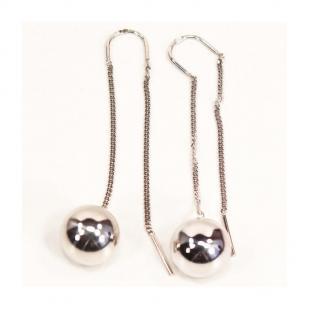 Серебряные протяжки с шариком снизу фото