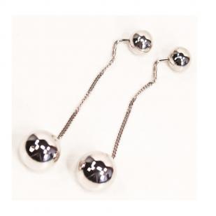 Серебряные серьги цепочки с шариками фото