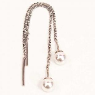 Серебряные серьги протяжки с жемчугом  фото