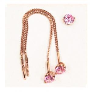 Золотые протяжки с розовым фианитом
