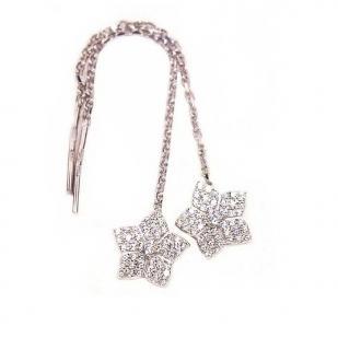 Серебряные серьги Цветы с цепочкой