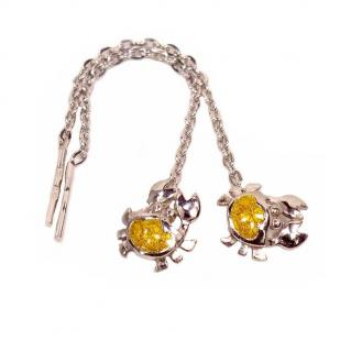 Серебряные серьги Крабик с желтой эмалью фото