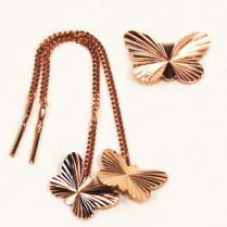 Золотые серьги протяжки с бабочкой