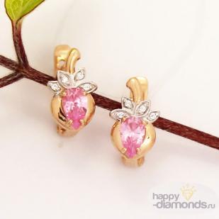 Серьги ягодки для малышек золотые фото