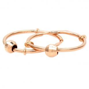 Золотые серьги кольца с шариками 1,5 см