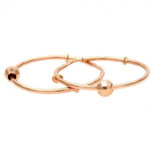 Золотые серьги кольца с шариком 2,0 см фото