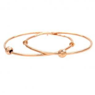 Золотые серьги кольца с шариком 3 см