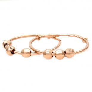 Золотые серьги кольца с 3 шариками