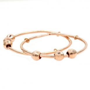 Золотые серьги кольца с шариками 2,5 см
