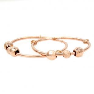 Золотые серьги кольца с шариками 2 см
