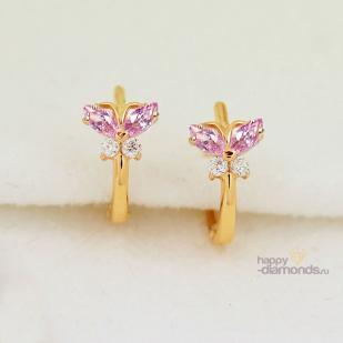 """Детские золотые серьги """"Мои бабочки"""""""