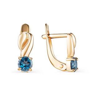 Золотые сережки для девочки с синим камнем фото