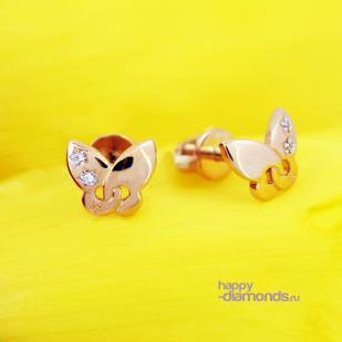 Золотые пусеты Бабочка со звездочкой