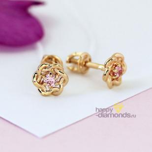 Золотые пусеты Крендельки розовый фианит