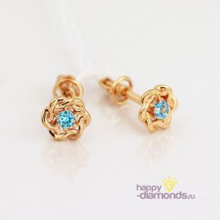 Золотые пусеты Крендельки голубой фианит