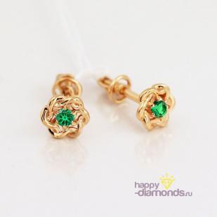 Золотые пусеты Крендельки зеленый фианит
