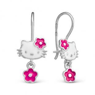 Серебряные серьги Хеллоу Китти и цветочек фото